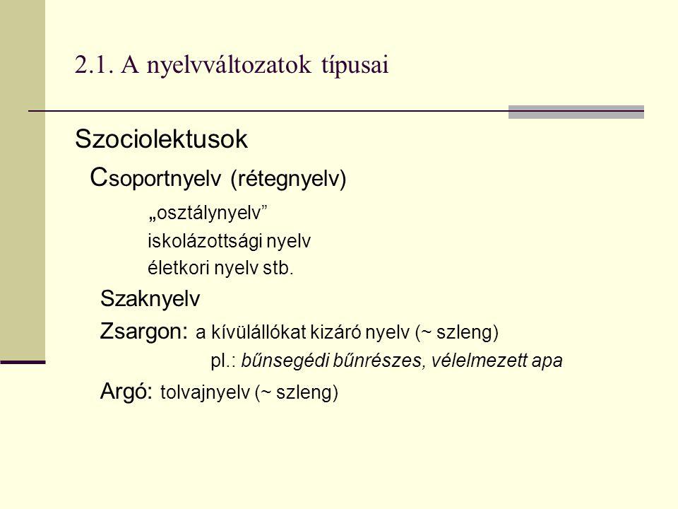 """2.1. A nyelvváltozatok típusai Szociolektusok C soportnyelv (rétegnyelv) """" osztálynyelv"""" iskolázottsági nyelv életkori nyelv stb. Szaknyelv Zsargon: a"""
