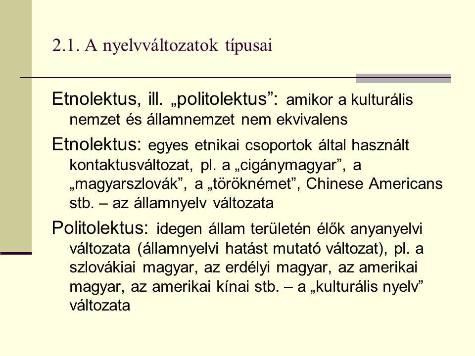 """2.1. A nyelvváltozatok típusai Etnolektus, ill. """"politolektus"""": amikor a kulturális nemzet és államnemzet nem ekvivalens Etnolektus: egyes etnikai cso"""