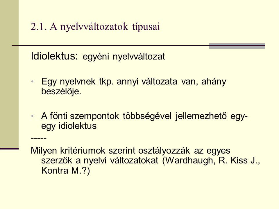 2.1. A nyelvváltozatok típusai Idiolektus: egyéni nyelvváltozat Egy nyelvnek tkp. annyi változata van, ahány beszélője. A fönti szempontok többségével