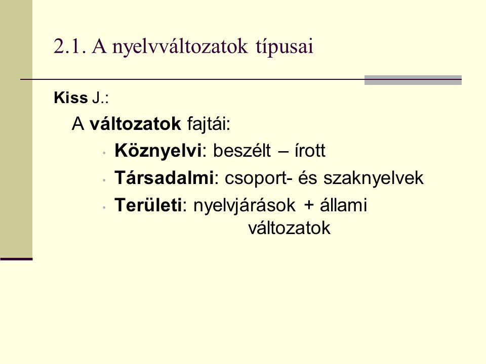 2.1. A nyelvváltozatok típusai Kiss J.: A változatok fajtái: Köznyelvi: beszélt – írott Társadalmi: csoport- és szaknyelvek Területi: nyelvjárások + á