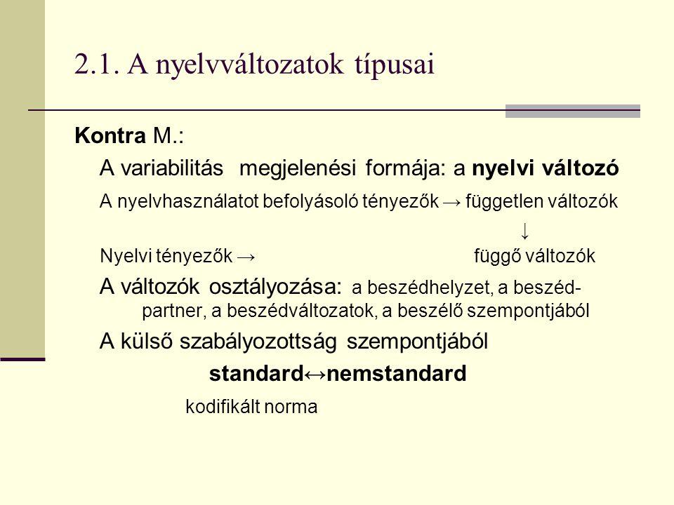 2.1. A nyelvváltozatok típusai Kontra M.: A variabilitás megjelenési formája: a nyelvi változó A nyelvhasználatot befolyásoló tényezők → független vál
