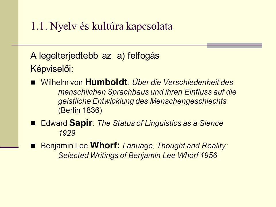 1.1. Nyelv és kultúra kapcsolata A legelterjedtebb az a) felfogás Képviselői: Wilhelm von Humboldt : Über die Verschiedenheit des menschlichen Sprachb