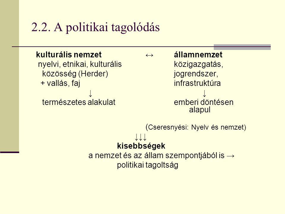 2.2. A politikai tagolódás kulturális nemzet ↔ államnemzet nyelvi, etnikai, kulturálisközigazgatás, közösség (Herder) jogrendszer, + vallás, faj infra