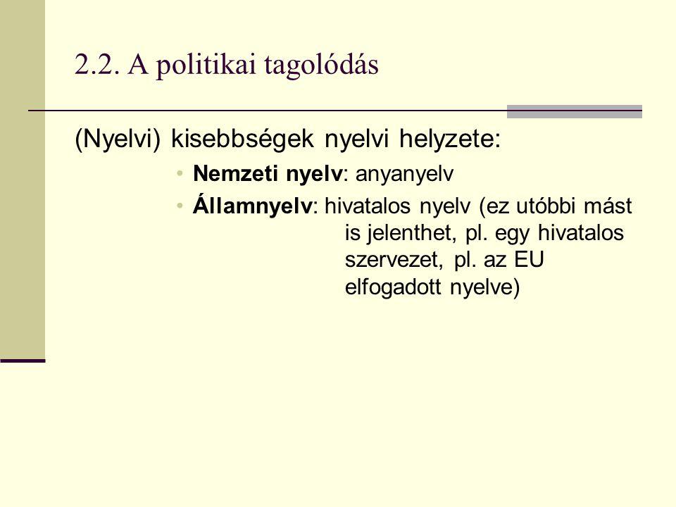 2.2. A politikai tagolódás (Nyelvi) kisebbségek nyelvi helyzete: Nemzeti nyelv: anyanyelv Államnyelv: hivatalos nyelv (ez utóbbi mást is jelenthet, pl