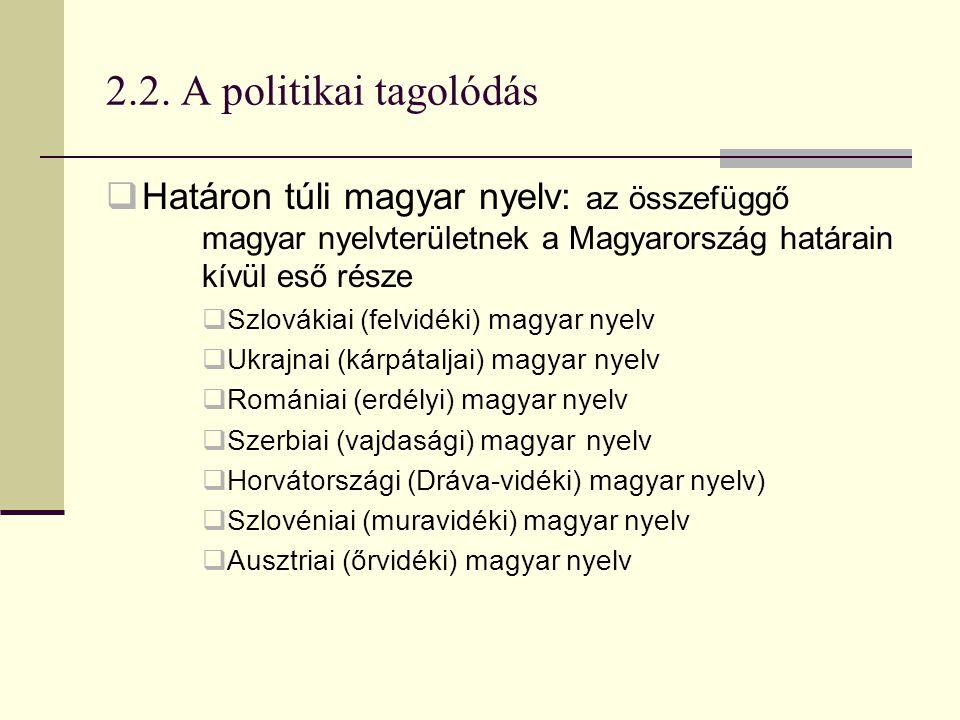 2.2. A politikai tagolódás  Határon túli magyar nyelv: az összefüggő magyar nyelvterületnek a Magyarország határain kívül eső része  Szlovákiai (fel