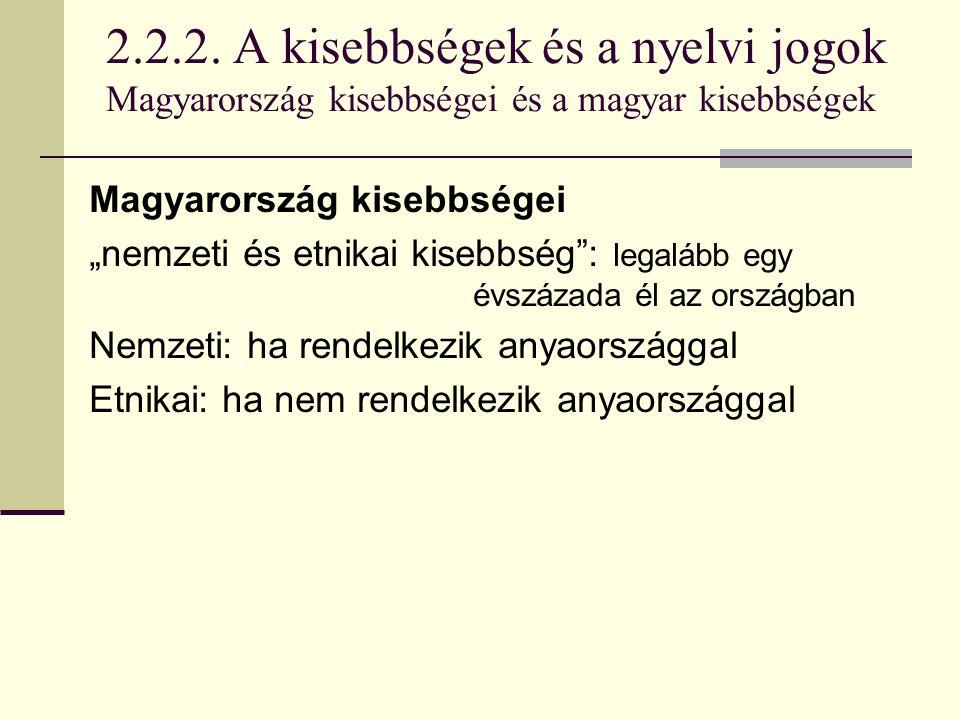"""2.2.2. A kisebbségek és a nyelvi jogok Magyarország kisebbségei és a magyar kisebbségek Magyarország kisebbségei """"nemzeti és etnikai kisebbség"""": legal"""