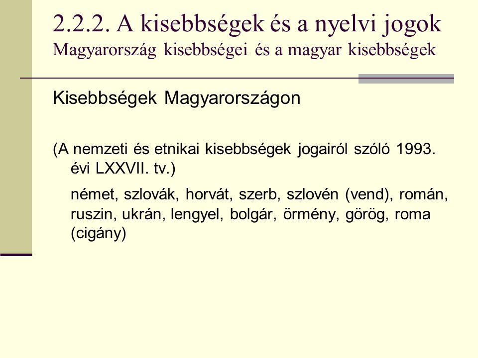 2.2.2. A kisebbségek és a nyelvi jogok Magyarország kisebbségei és a magyar kisebbségek Kisebbségek Magyarországon (A nemzeti és etnikai kisebbségek j