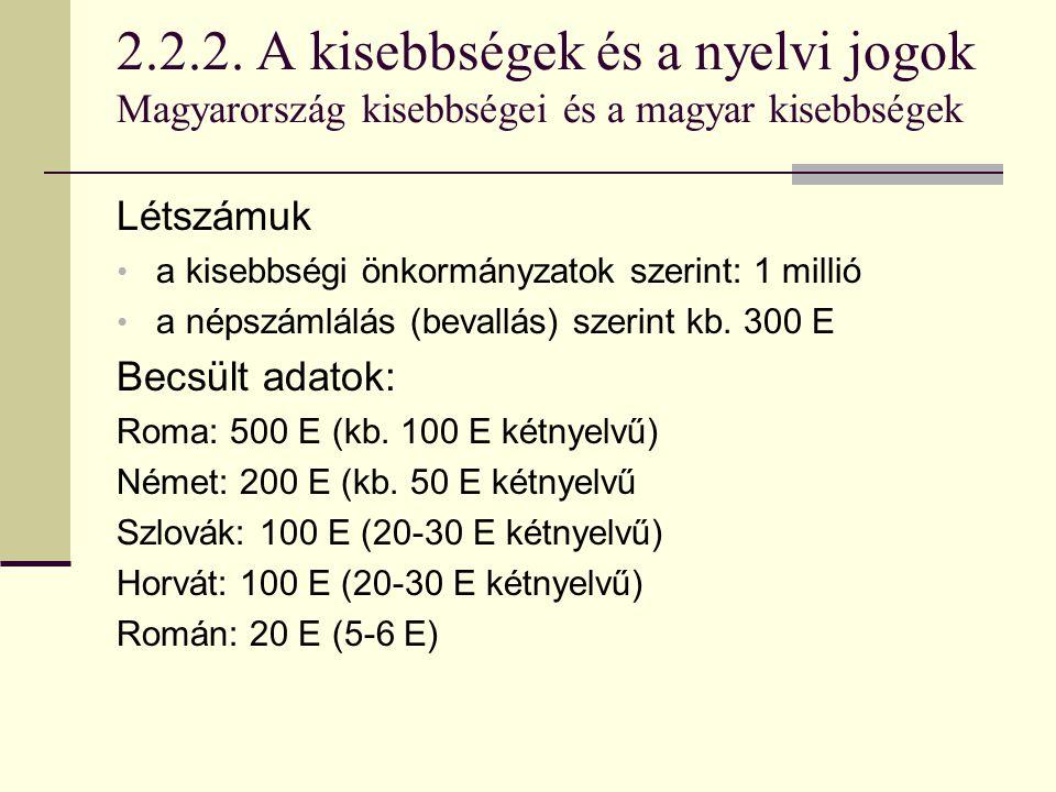 2.2.2. A kisebbségek és a nyelvi jogok Magyarország kisebbségei és a magyar kisebbségek Létszámuk a kisebbségi önkormányzatok szerint: 1 millió a néps