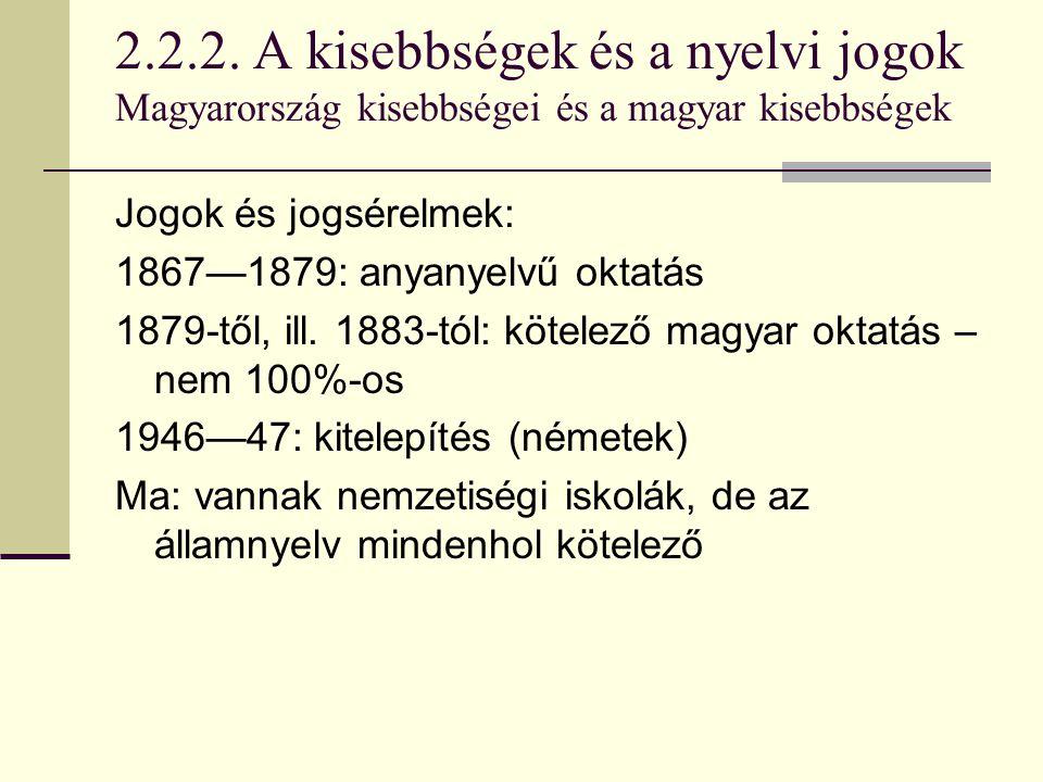 2.2.2. A kisebbségek és a nyelvi jogok Magyarország kisebbségei és a magyar kisebbségek Jogok és jogsérelmek: 1867—1879: anyanyelvű oktatás 1879-től,