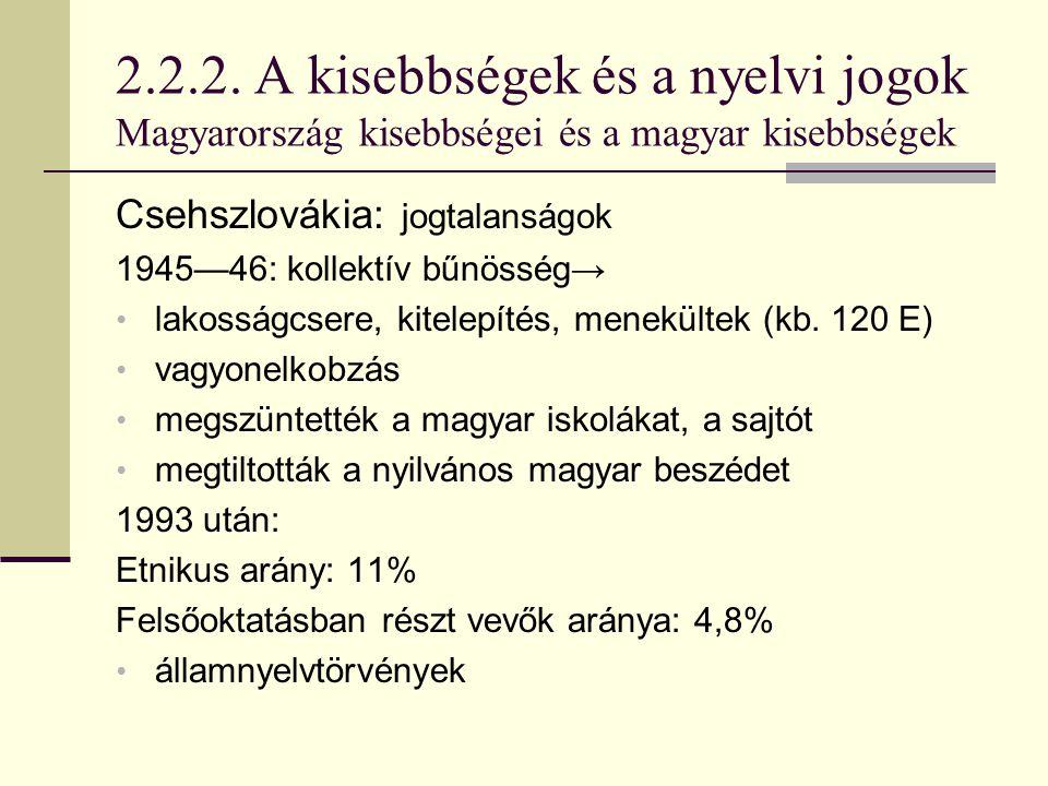 2.2.2. A kisebbségek és a nyelvi jogok Magyarország kisebbségei és a magyar kisebbségek Csehszlovákia: jogtalanságok 1945—46: kollektív bűnösség→ lako