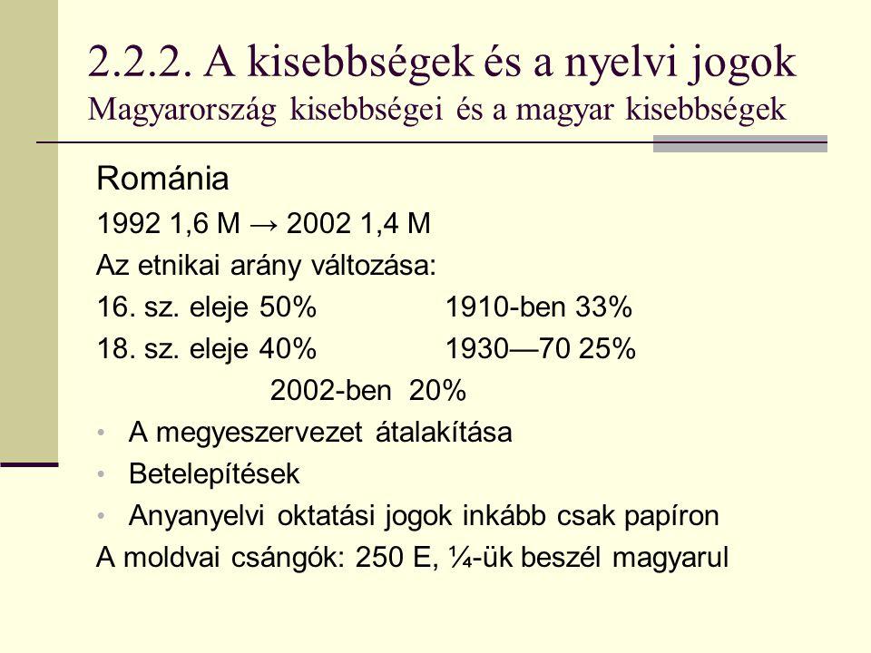 2.2.2. A kisebbségek és a nyelvi jogok Magyarország kisebbségei és a magyar kisebbségek Románia 1992 1,6 M → 2002 1,4 M Az etnikai arány változása: 16