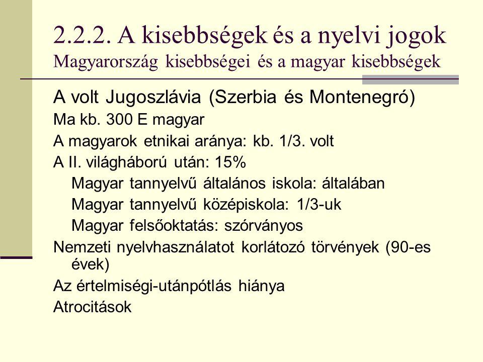 2.2.2. A kisebbségek és a nyelvi jogok Magyarország kisebbségei és a magyar kisebbségek A volt Jugoszlávia (Szerbia és Montenegró) Ma kb. 300 E magyar
