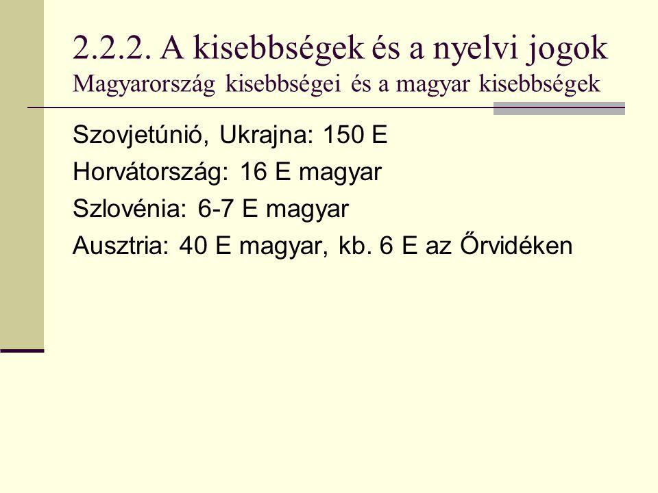 2.2.2. A kisebbségek és a nyelvi jogok Magyarország kisebbségei és a magyar kisebbségek Szovjetúnió, Ukrajna: 150 E Horvátország: 16 E magyar Szlovéni