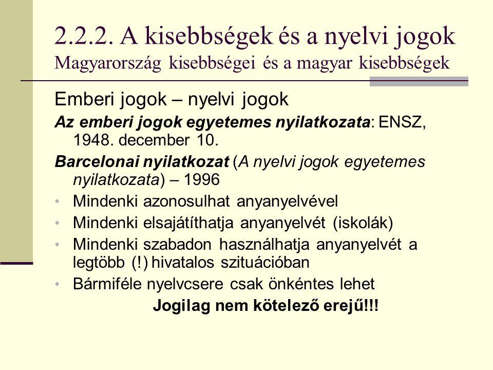 2.2.2. A kisebbségek és a nyelvi jogok Magyarország kisebbségei és a magyar kisebbségek Emberi jogok – nyelvi jogok Az emberi jogok egyetemes nyilatko