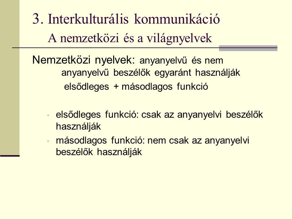3. Interkulturális kommunikáció A nemzetközi és a világnyelvek Nemzetközi nyelvek: anyanyelvű és nem anyanyelvű beszélők egyaránt használják elsődlege