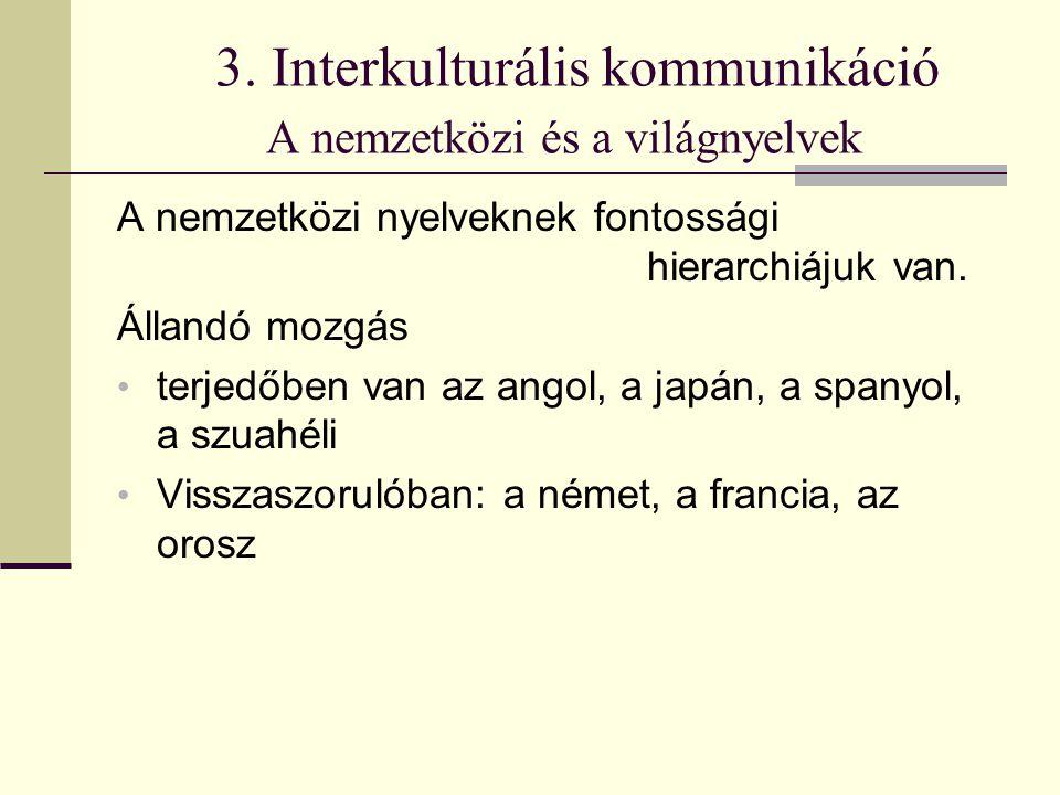 3. Interkulturális kommunikáció A nemzetközi és a világnyelvek A nemzetközi nyelveknek fontossági hierarchiájuk van. Állandó mozgás terjedőben van az