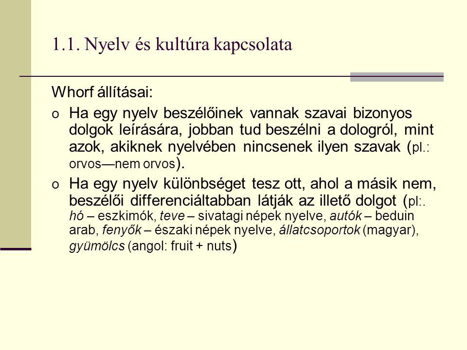 1.1. Nyelv és kultúra kapcsolata Whorf állításai: o Ha egy nyelv beszélőinek vannak szavai bizonyos dolgok leírására, jobban tud beszélni a dologról,