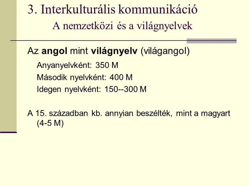 3. Interkulturális kommunikáció A nemzetközi és a világnyelvek Az angol mint világnyelv (világangol) Anyanyelvként: 350 M Második nyelvként: 400 M Ide