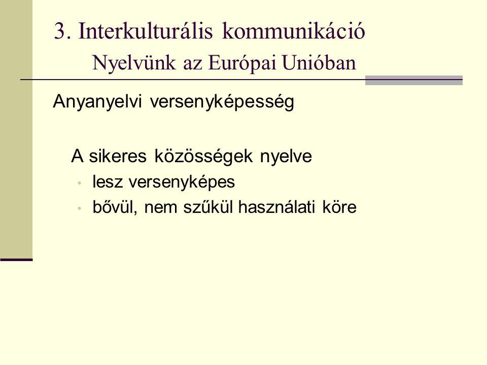 3. Interkulturális kommunikáció Nyelvünk az Európai Unióban Anyanyelvi versenyképesség A sikeres közösségek nyelve lesz versenyképes bővül, nem szűkül