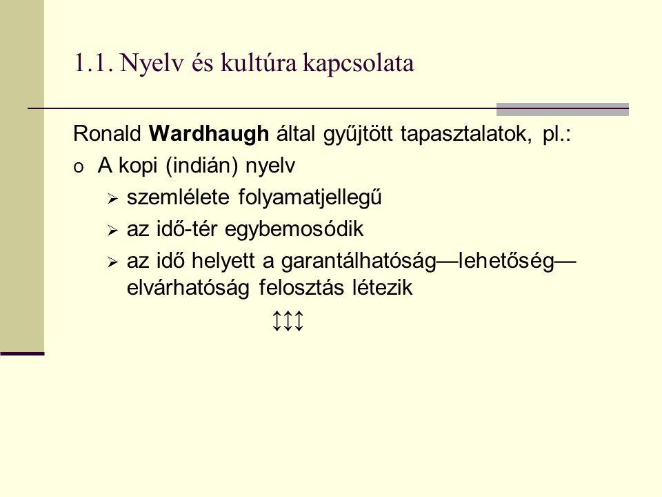 1.1. Nyelv és kultúra kapcsolata Ronald Wardhaugh által gyűjtött tapasztalatok, pl.: o A kopi (indián) nyelv  szemlélete folyamatjellegű  az idő-tér
