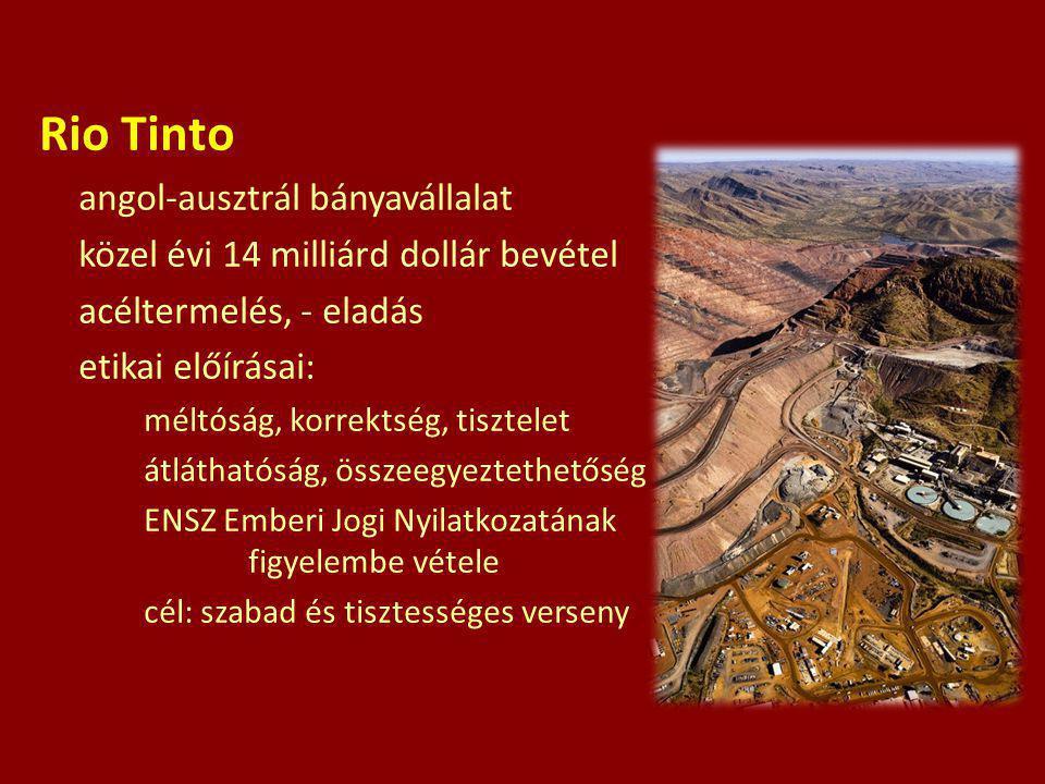 Rio Tinto angol-ausztrál bányavállalat közel évi 14 milliárd dollár bevétel acéltermelés, - eladás etikai előírásai: méltóság, korrektség, tisztelet á