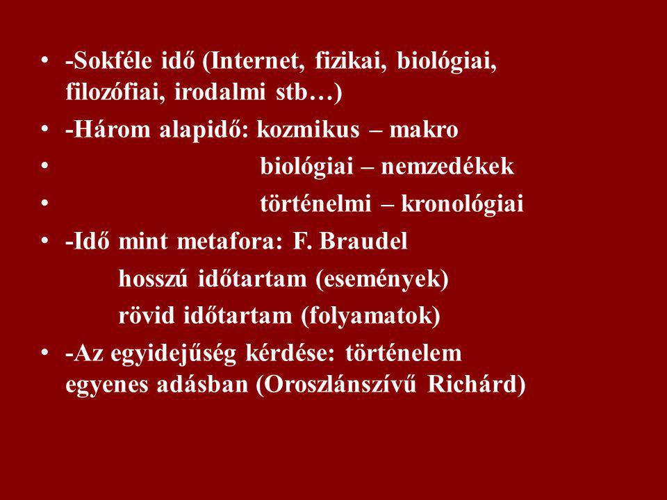 -Sokféle idő (Internet, fizikai, biológiai, filozófiai, irodalmi stb…) -Három alapidő: kozmikus – makro biológiai – nemzedékek történelmi – kronológia