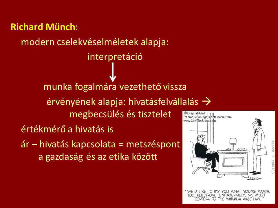 Richard Münch: modern cselekvéselméletek alapja: interpretáció munka fogalmára vezethető vissza érvényének alapja: hivatásfelvállalás  megbecsülés és