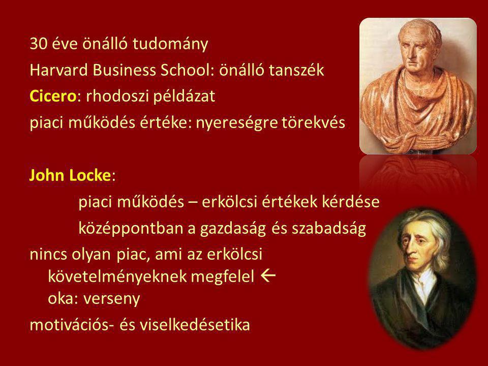 30 éve önálló tudomány Harvard Business School: önálló tanszék Cicero: rhodoszi példázat piaci működés értéke: nyereségre törekvés John Locke: piaci m