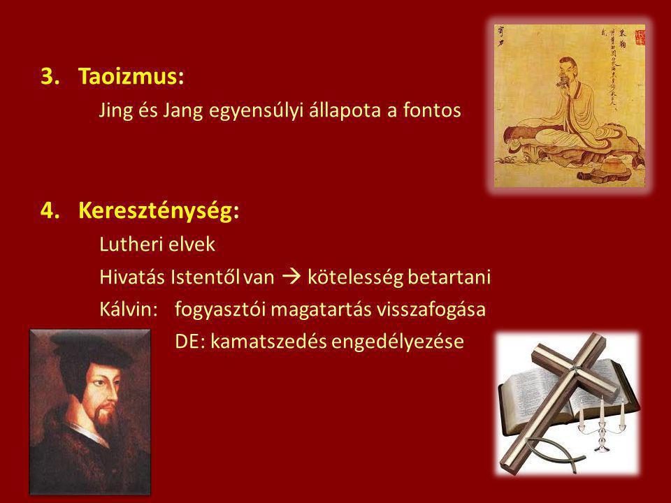 3.Taoizmus: Jing és Jang egyensúlyi állapota a fontos 4.Kereszténység: Lutheri elvek Hivatás Istentől van  kötelesség betartani Kálvin: fogyasztói ma