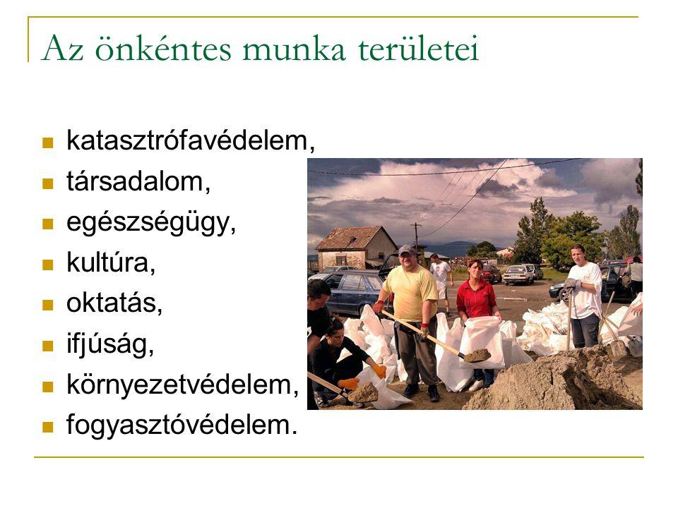 Az önkéntes munka területei katasztrófavédelem, társadalom, egészségügy, kultúra, oktatás, ifjúság, környezetvédelem, fogyasztóvédelem.