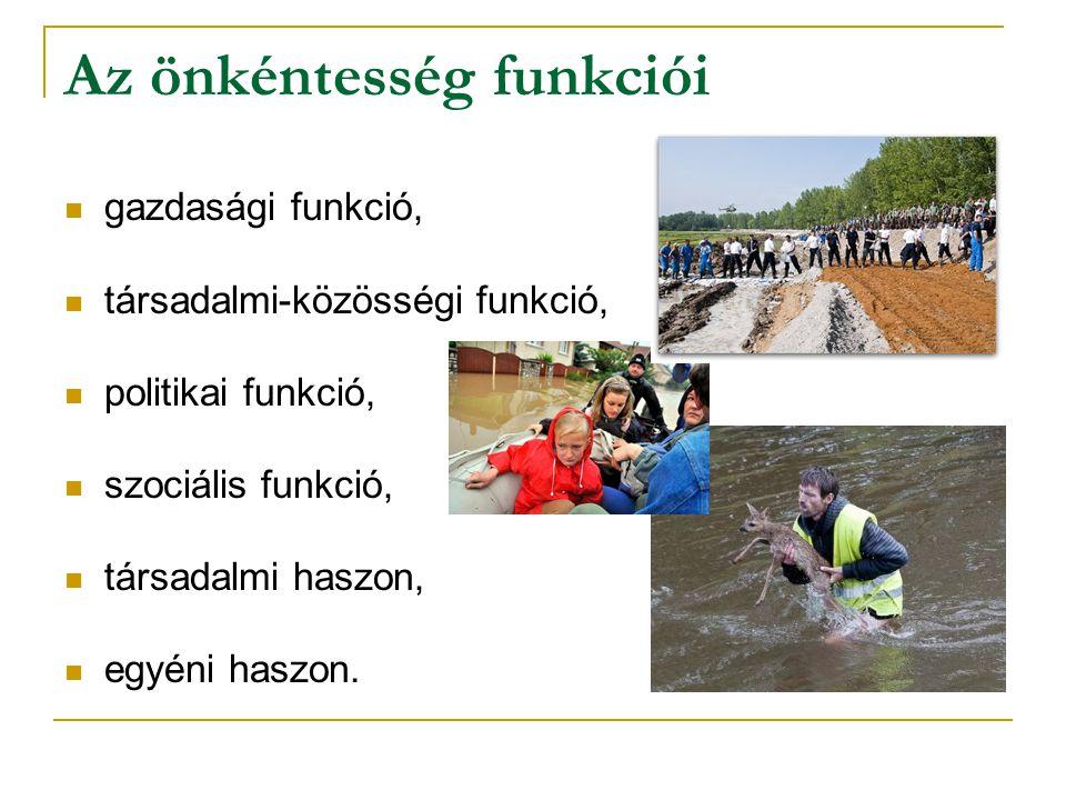 Az önkéntesség funkciói gazdasági funkció, társadalmi-közösségi funkció, politikai funkció, szociális funkció, társadalmi haszon, egyéni haszon.