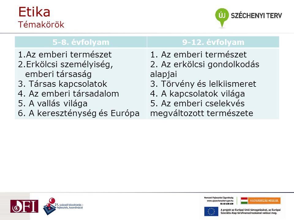 Etika Témakörök 5-8. évfolyam9-12.