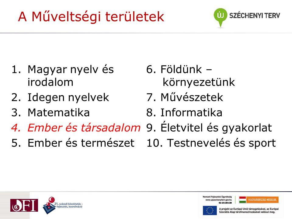 A Műveltségi területek 1.Magyar nyelv és irodalom 2.Idegen nyelvek 3.Matematika 4.Ember és társadalom 5.Ember és természet 6.