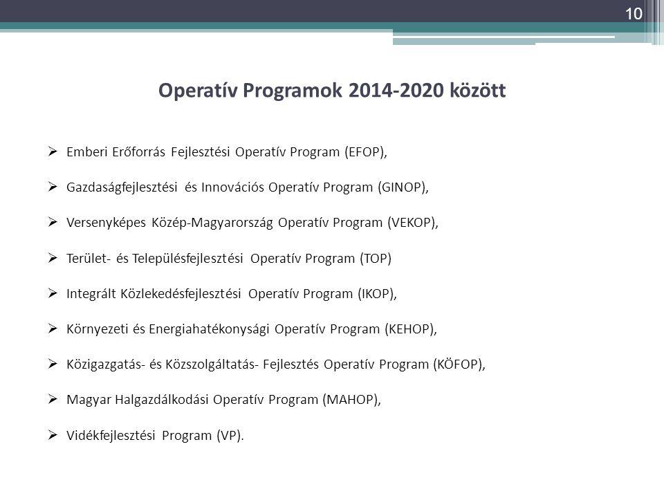 Operatív Programok 2014-2020 között  Emberi Erőforrás Fejlesztési Operatív Program (EFOP),  Gazdaságfejlesztési és Innovációs Operatív Program (GINO