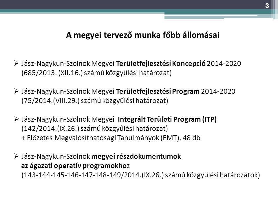 A megyei tervező munka főbb állomásai  Jász-Nagykun-Szolnok Megyei Területfejlesztési Koncepció 2014-2020 (685/2013. (XII.16.) számú közgyűlési határ