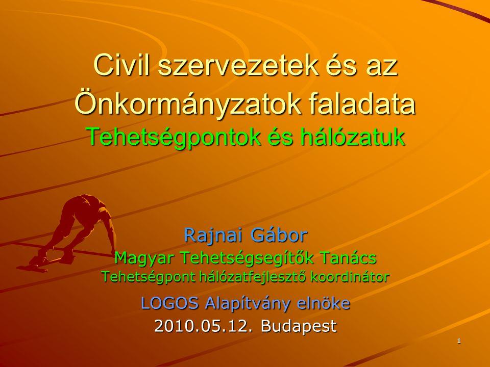 1 Civil szervezetek és az Önkormányzatok faladata Tehetségpontok és hálózatuk Rajnai Gábor Magyar Tehetségsegítők Tanács Tehetségpont hálózatfejlesztő