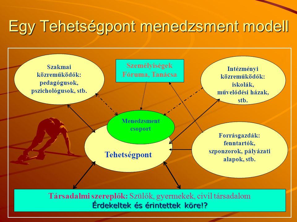11 Egy Tehetségpont menedzsment modell Társadalmi szereplők: Szülők, gyermekek, civil társadalom Érdekeltek és érintettek köre!.