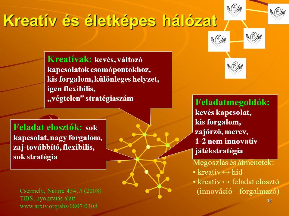 """12 Kreatív és életképes hálózat Feladatmegoldók: kevés kapcsolat, kis forgalom, zajőrző, merev, 1-2 nem innovatív játékstratégia Megoszlás és átmenetek: kreatív ↔ híd kreatív ↔ feladat elosztó (innováció – forgalmazó) Kreatívak: kevés, változó kapcsolatok csomópontokhoz, kis forgalom, különleges helyzet, igen flexibilis, """"végtelen stratégiaszám Feladat elosztók: sok kapcsolat, nagy forgalom, zaj-továbbító, flexibilis, sok stratégia Csermely, Nature 454, 5 (2008) TiBS, nyomtatás alatt www.arxiv.org/abs/0807.0308"""