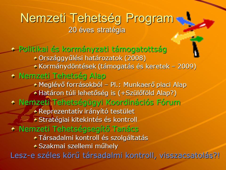 4 Nemzeti Tehetség Program 20 éves stratégia Politikai és kormányzati támogatottság Országgyűlési határozatok (2008) Kormánydöntések (támogatás és keretek – 2009) Nemzeti Tehetség Alap Meglévő forrásokból – Pl.: Munkaerő piaci Alap Határon túli lehetőség is (+Szülőföld Alap ) Nemzeti Tehetségügyi Koordinációs Fórum Reprezentatív irányító testület Stratégiai kitekintés és kontroll Nemzeti Tehetségsegítő Tanács Társadalmi kontroll és szolgáltatás Szakmai szellemi műhely Lesz-e széles körű társadalmi kontroll, visszacsatolás !
