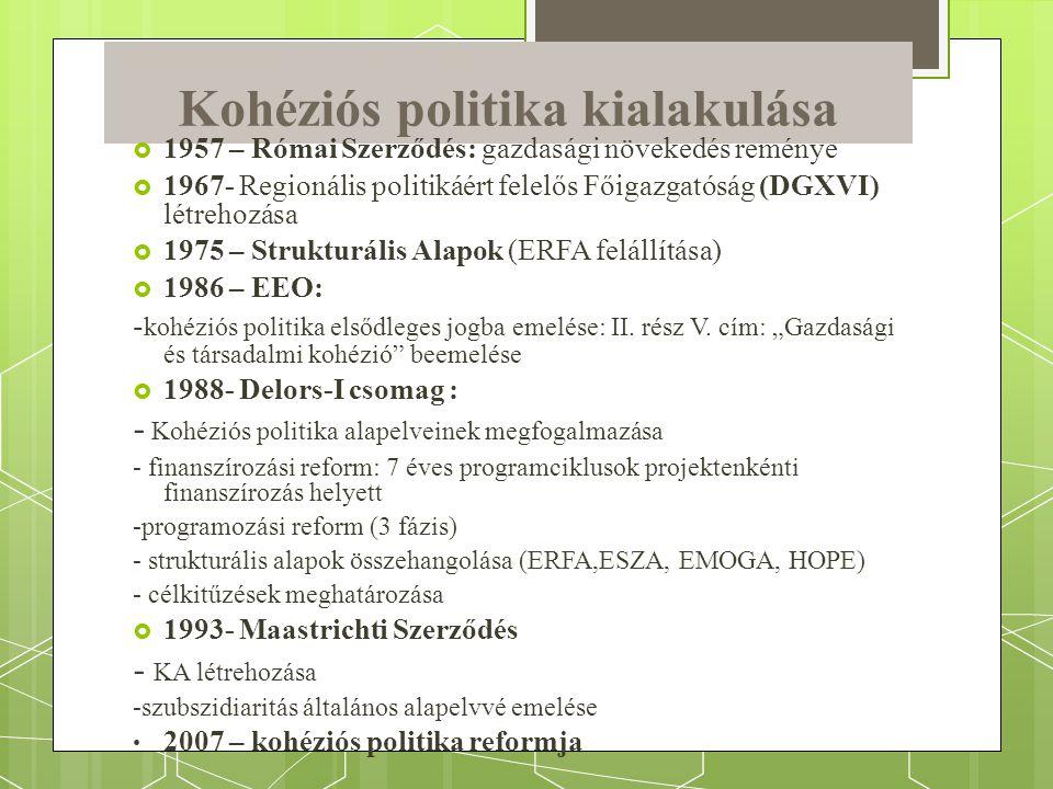 Kohéziós politika kialakulása  1957 – Római Szerződés: gazdasági növekedés reménye  1967- Regionális politikáért felelős Főigazgatóság (DGXVI) létrehozása  1975 – Strukturális Alapok (ERFA felállítása)  1986 – EEO: - kohéziós politika elsődleges jogba emelése: II.