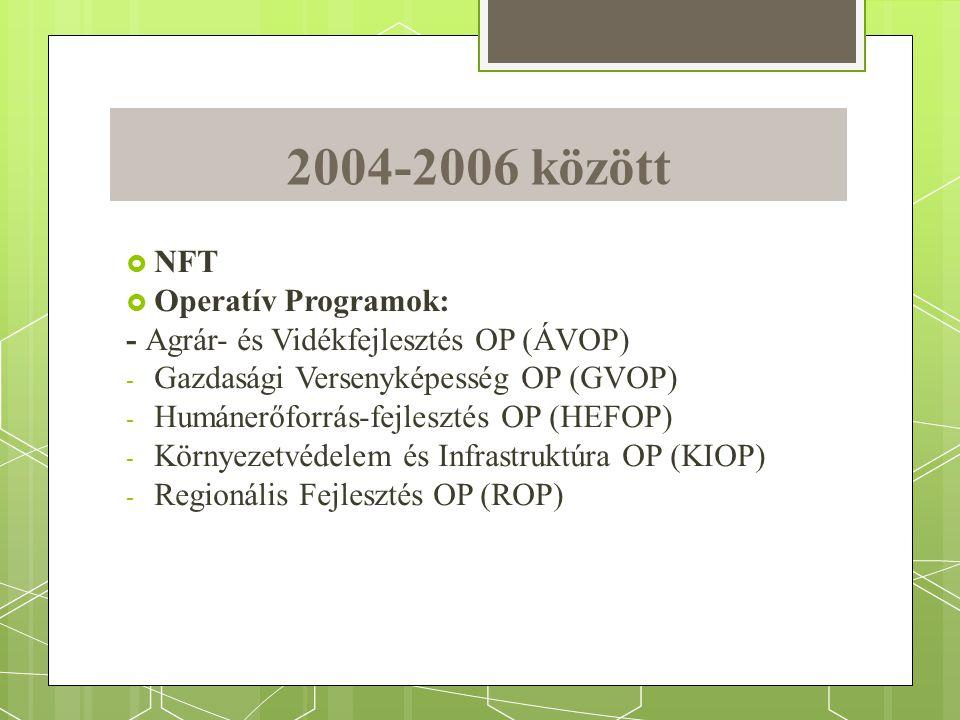 2004-2006 között  NFT  Operatív Programok: - Agrár- és Vidékfejlesztés OP (ÁVOP) - Gazdasági Versenyképesség OP (GVOP) - Humánerőforrás-fejlesztés OP (HEFOP) - Környezetvédelem és Infrastruktúra OP (KIOP) - Regionális Fejlesztés OP (ROP)