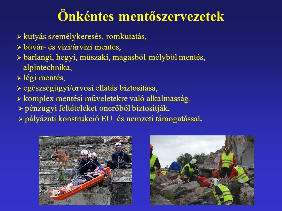 Önkéntes mentőszervezetek  kutyás személykeresés, romkutatás,  búvár- és vízi/árvízi mentés,  barlangi, hegyi, műszaki, magasból-mélyből mentés, al