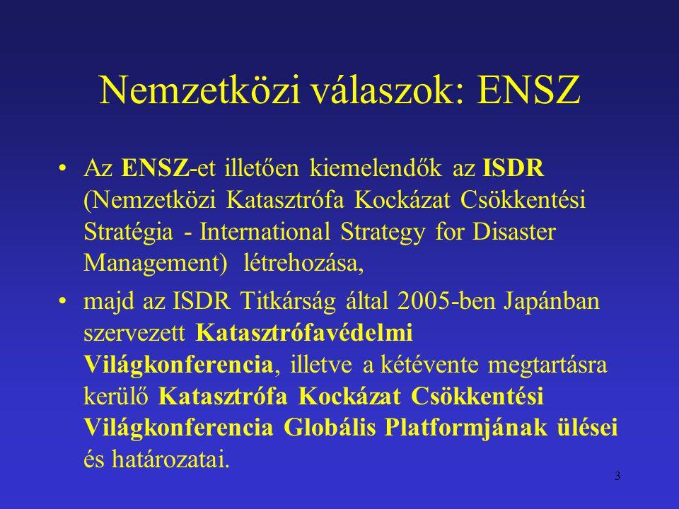 Nemzetközi válaszok: ENSZ Az ENSZ-et illetően kiemelendők az ISDR (Nemzetközi Katasztrófa Kockázat Csökkentési Stratégia - International Strategy for
