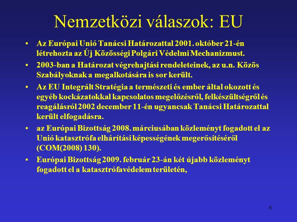 Nemzetközi válaszok: EU Az Európai Unió Tanácsi Határozattal 2001. október 21-én létrehozta az Új Közösségi Polgári Védelmi Mechanizmust. 2003-ban a H