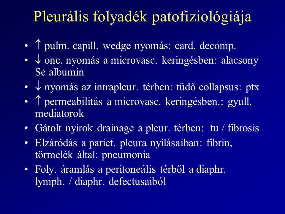 Pleurális folyadék patofiziológiája  pulm. capill. wedge nyomás: card. decomp.  onc. nyomás a microvasc. keringésben: alacsony Se albumin  nyomás a