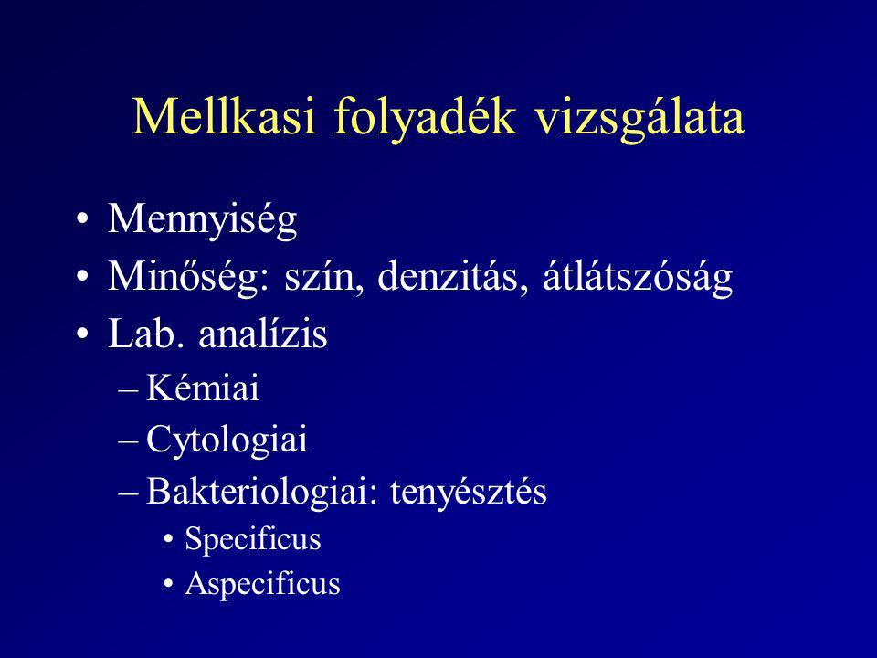 Mellkasi folyadék vizsgálata Mennyiség Minőség: szín, denzitás, átlátszóság Lab. analízis –Kémiai –Cytologiai –Bakteriologiai: tenyésztés Specificus A