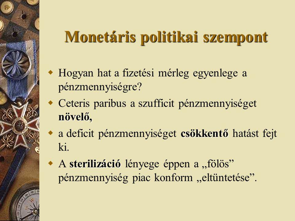 Monetáris politikai szempont  Hogyan hat a fizetési mérleg egyenlege a pénzmennyiségre? növelő,  Ceteris paribus a szufficit pénzmennyiséget növelő,