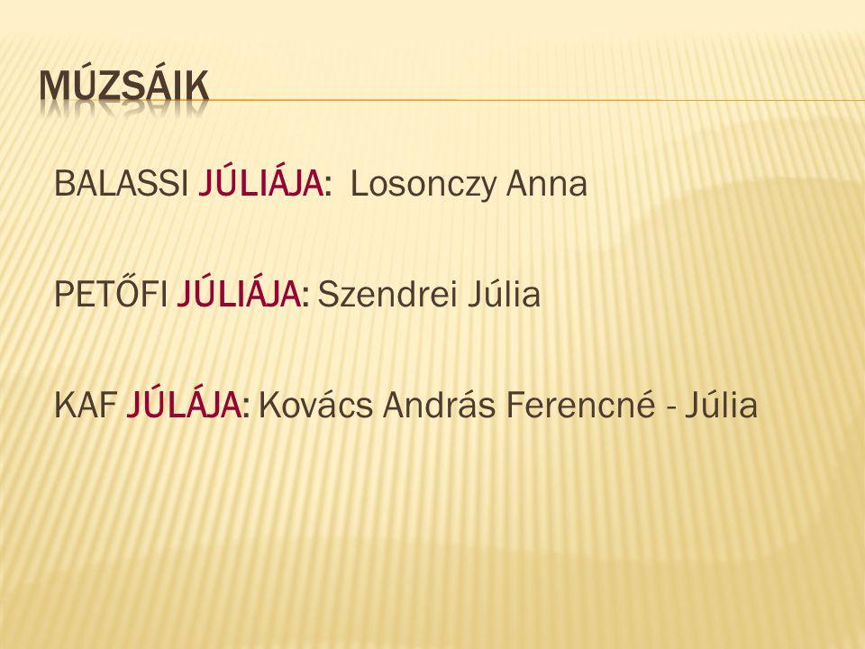 BALASSI JÚLIÁJA: Losonczy Anna PETŐFI JÚLIÁJA: Szendrei Júlia KAF JÚLÁJA: Kovács András Ferencné - Júlia