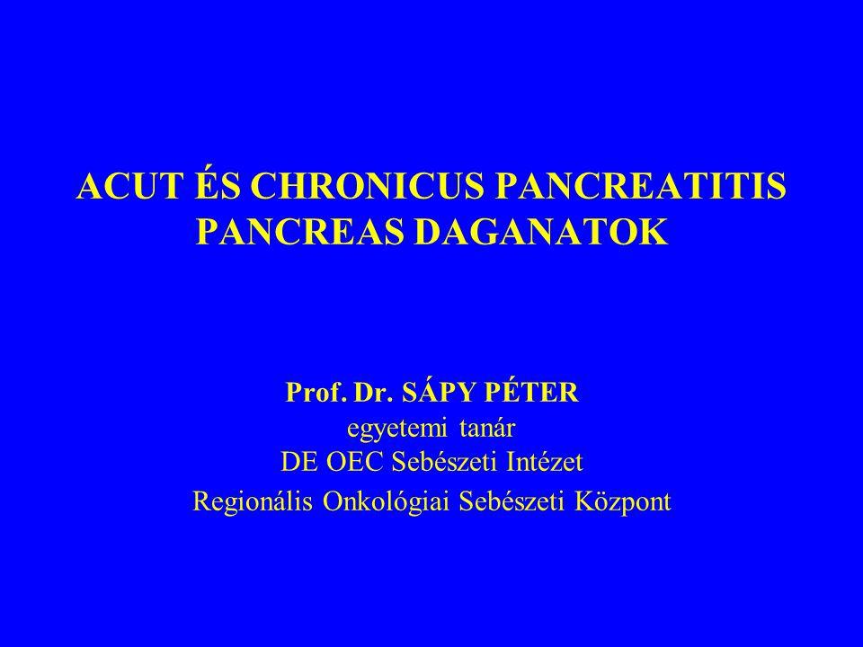 ACUT ÉS CHRONICUS PANCREATITIS PANCREAS DAGANATOK Prof. Dr. SÁPY PÉTER egyetemi tanár DE OEC Sebészeti Intézet Regionális Onkológiai Sebészeti Központ