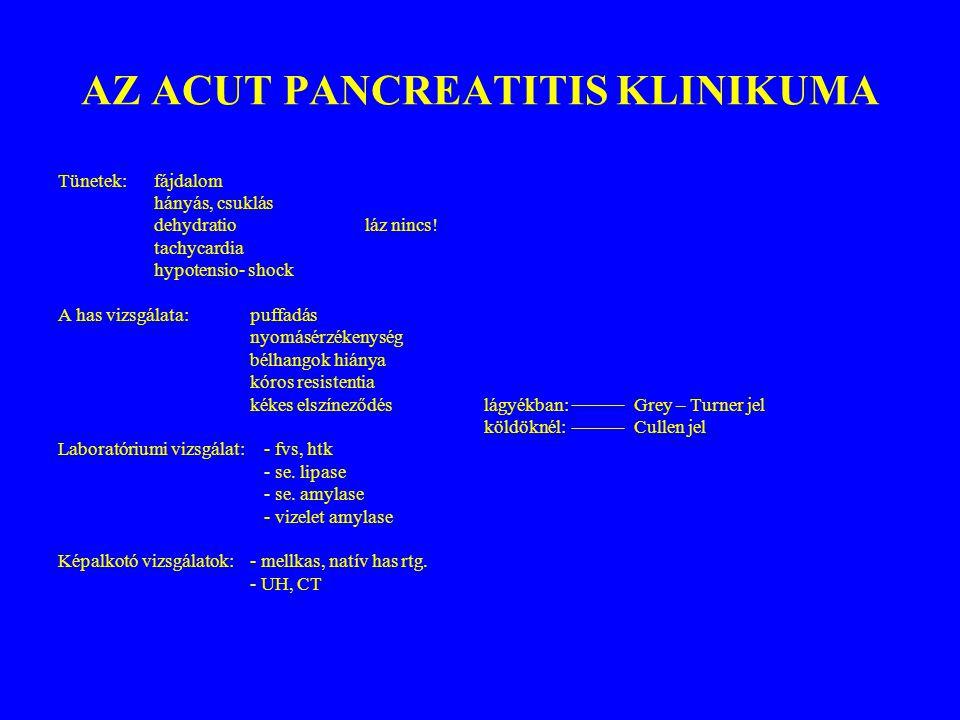 AZ ACUT PANCREATITIS KLINIKUMA Tünetek:fájdalom hányás, csuklás dehydratio láz nincs! tachycardia hypotensio- shock A has vizsgálata:puffadás nyomásér